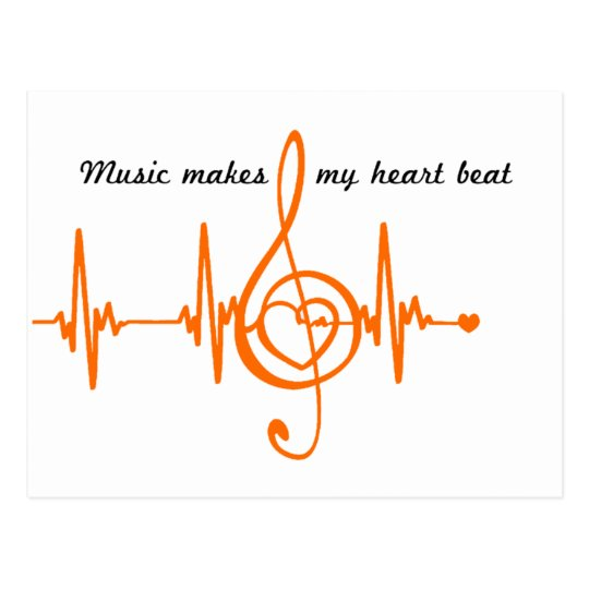 Cartão Postal MUSIC HEART BEAT Música batida do coração