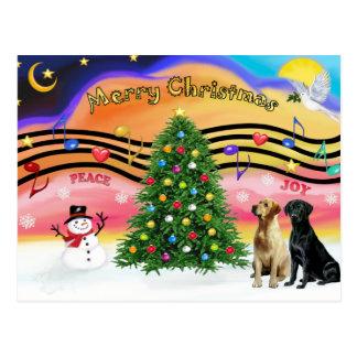 Cartão Postal Música 2 do Natal - Retrievers de Labrador (dois)