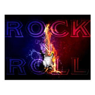 Cartão Postal Música flamejante da guitarra elétrica do fogo do