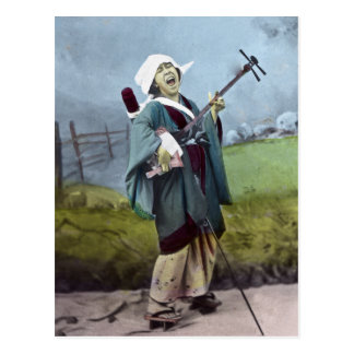 Cartão Postal Música japonesa do banjo do vintage de Shamisen do