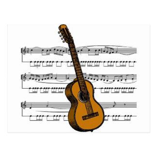 Cartão Postal Musical 07 B da guitarra acústica