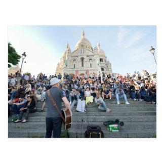 Cartão Postal Músico fora de Sacre Coeur Paris