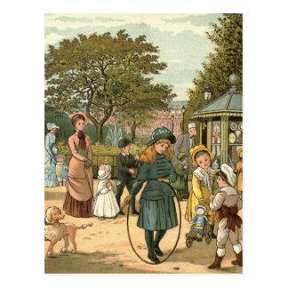 Cartão Postal Na ilustração do vintage do parque