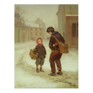 Cartão Postal Na maneira à escola na neve, 1879