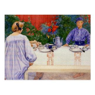 Cartão Postal Na mesa de pequeno almoço 1910