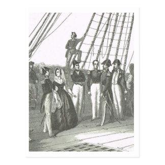 Cartão Postal Na plataforma, 1800s da embarcação naval