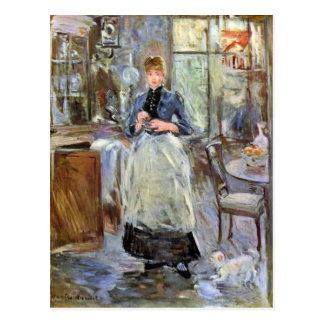 Cartão Postal Na sala de jantar por Berthe Morisot
