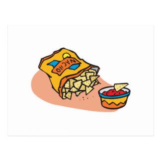 Cartão Postal nachos e mergulho da salsa