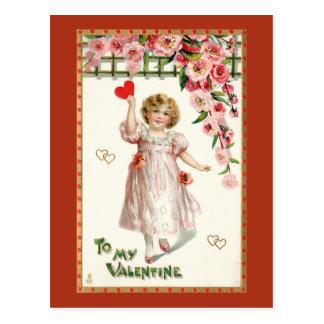 Cartão Postal Namorados bonitos da criança do Victorian