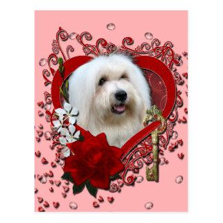 Cartão Postal Namorados - chave a meu coração - algodão de