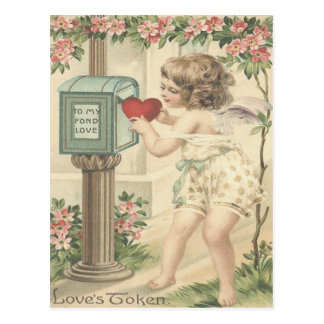 Cartão Postal Namorados da caixa postal do Cupido do coração do