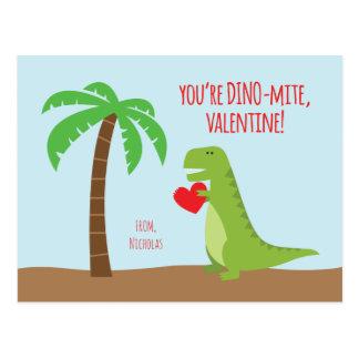 Cartão Postal Namorados da classe do dinossauro - T-Rex