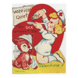 Cartão Postal Namorados da enfermeira do vintage