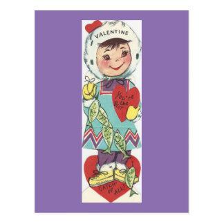 Cartão Postal Namorados da menina da pesca do vintage