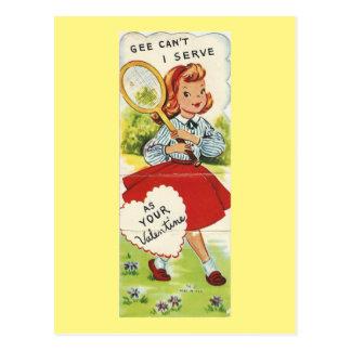 Cartão Postal Namorados da menina do tênis do vintage