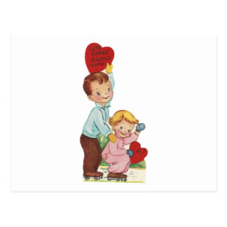 Cartão Postal Namorados da patinagem de rolo do vintage