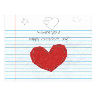Cartão Postal Namorados de papel do Doodle