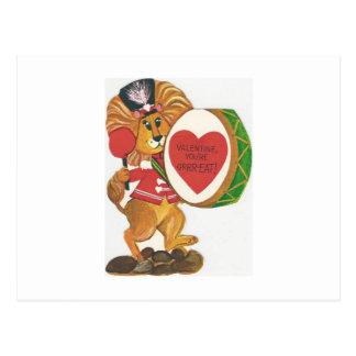 Cartão Postal Namorados do baterista do leão do vintage