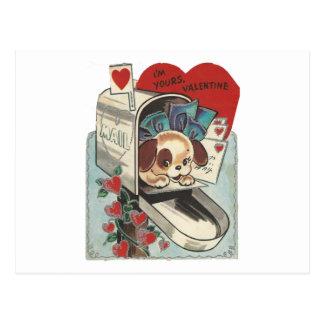 Cartão Postal Namorados do Doggy da caixa postal do vintage