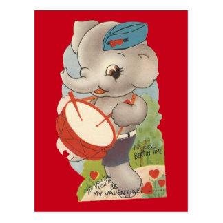 Cartão Postal Namorados do elefante do vintage
