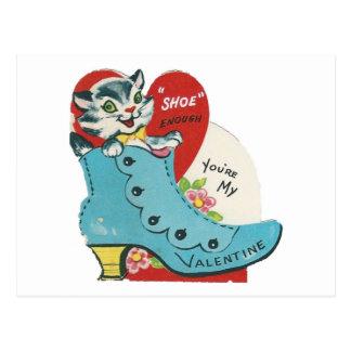 Cartão Postal Namorados do gatinho do vintage
