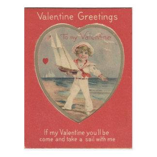 Cartão Postal Namorados do menino de marinheiro do vintage