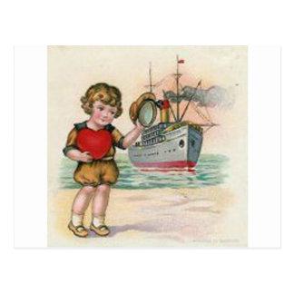 Cartão Postal Namorados do navio de cruzeiros do vintage