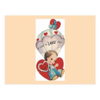 Cartão Postal Namorados do pára-quedas do vintage
