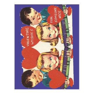 Cartão Postal Namorados do trem do brinquedo do vintage