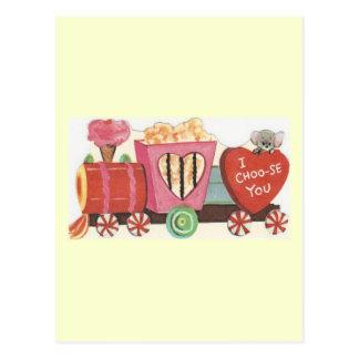 Cartão Postal Namorados do trem dos doces do vintage