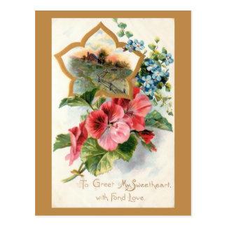 Cartão Postal Namorados do vintage com gerânio