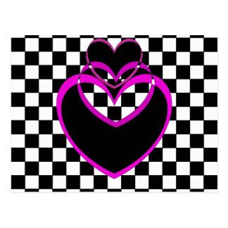 Cartão Postal Namorados dos corações roxos do coração de Popart