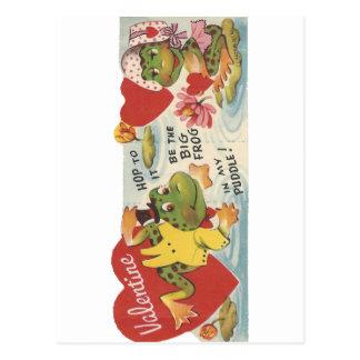 Cartão Postal Namorados dos sapos do vintage