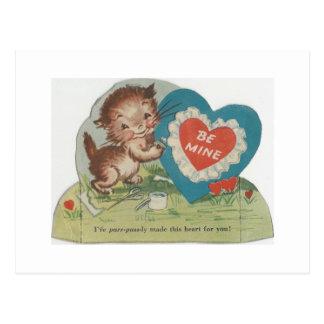 Cartão Postal Namorados espertos do gatinho do vintage