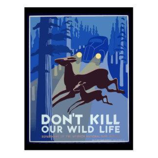Cartão Postal Não mate nosso poster vintage dos animais