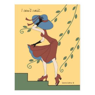 Cartão Postal Não pode esperar a menina no vestido e no chapéu