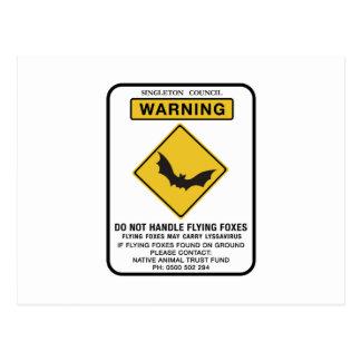 Cartão Postal Não trate raposas de vôo, sinal de tráfego, AU