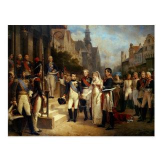 Cartão Postal Napoleon Bonaparte que recebe a rainha Louisa
