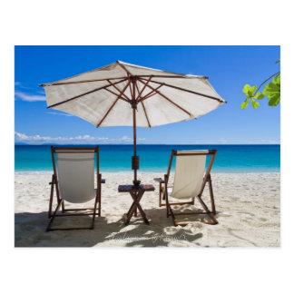 Cartão Postal Nas calmas sobre a praia