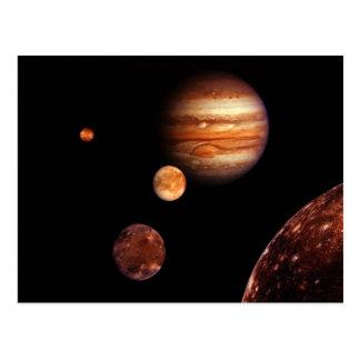 Cartão Postal NASA dos satélites galileus de Jupiter
