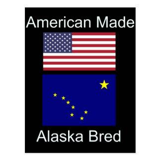 """Cartão Postal """"Nascer americano. Alaska produziu"""" bandeiras e"""