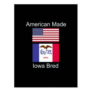 """Cartão Postal """"Nascer americano. Iowa produziu"""" bandeiras e"""