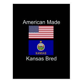 """Cartão Postal """"Nascer americano. Kansas produziu"""" bandeiras e"""