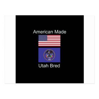"""Cartão Postal """"Nascer americano. Utá produziu"""" bandeiras e"""