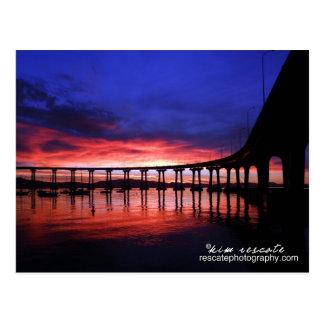 Cartão Postal Nascer do sol da ponte de Coronado