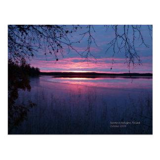 Cartão Postal Nascer do sol em Lapland