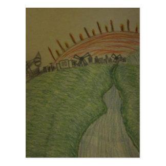Cartão Postal Nascer do sol no lápis colorido