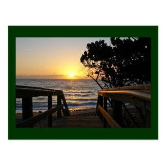 Cartão Postal Nascer do sol no passeio à beira mar