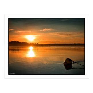 Cartão Postal Nascer do sol sobre a baía de Passamaquoddy.