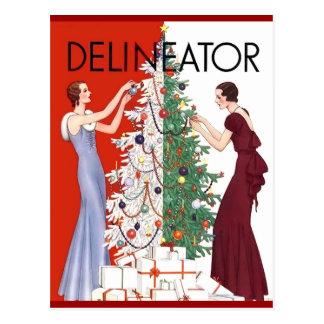 Cartão Postal Natal 1932 do vintage